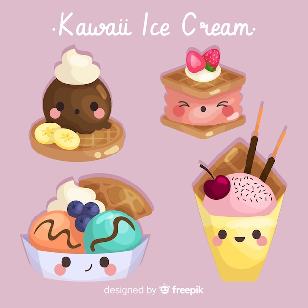 手描きのかわいいアイスクリームコレクション 無料ベクター