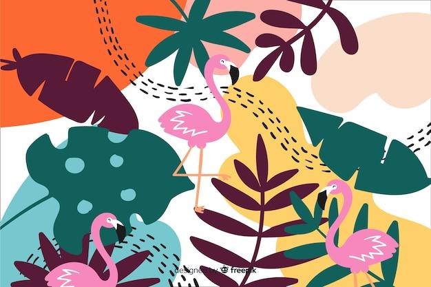 カラフルな熱帯植物の背景 無料ベクター