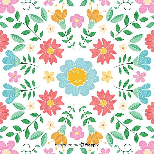 カラフルな花柄の刺繍の背景 無料ベクター