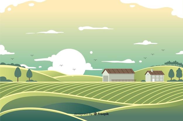Плоская ферма пейзаж Бесплатные векторы