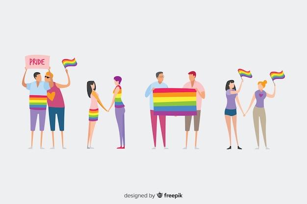 Люди празднуют день гордости Бесплатные векторы