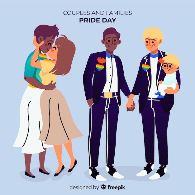 Семейные пары и день гордости Бесплатные векторы
