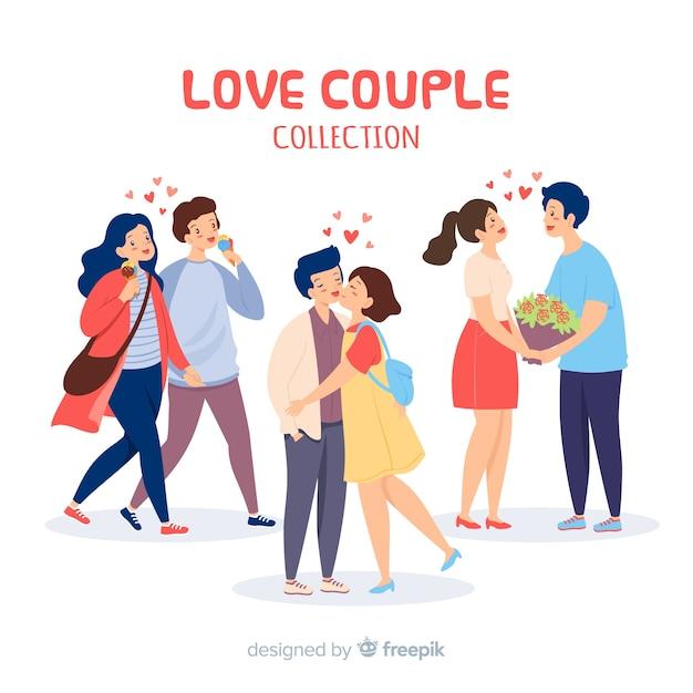 Любовь пара коллекция с сердечками Бесплатные векторы