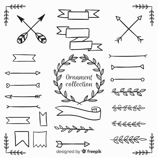 Коллекция рисованной орнаментов Бесплатные векторы