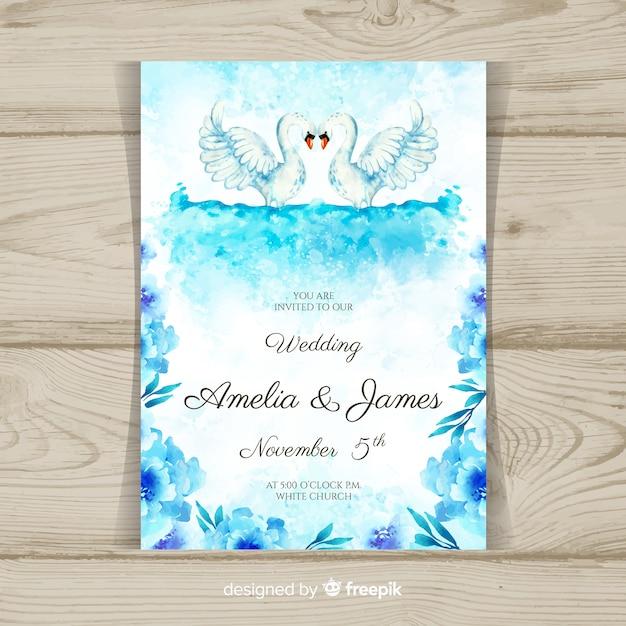 水彩動物の結婚式の招待状のテンプレート 無料ベクター