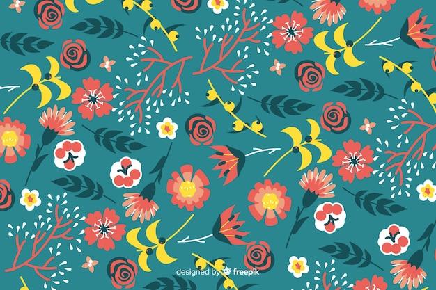 Ручной обращается красочный цветочный узор Бесплатные векторы