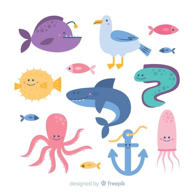 手描きの海の動物コレクション 無料ベクター