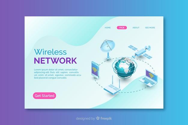 無線ネットワークのランディングページ 無料ベクター