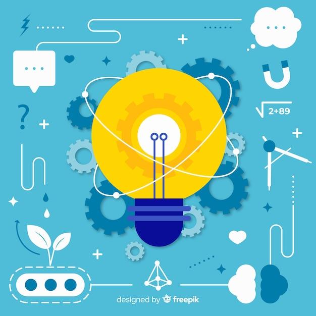 フラットデザイン思考の概念の背景 無料ベクター