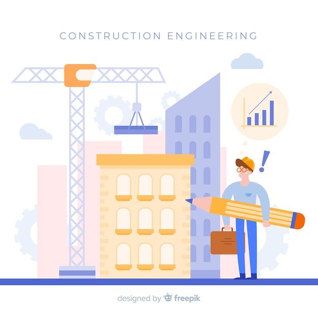 平らな建設工学の概念 無料ベクター