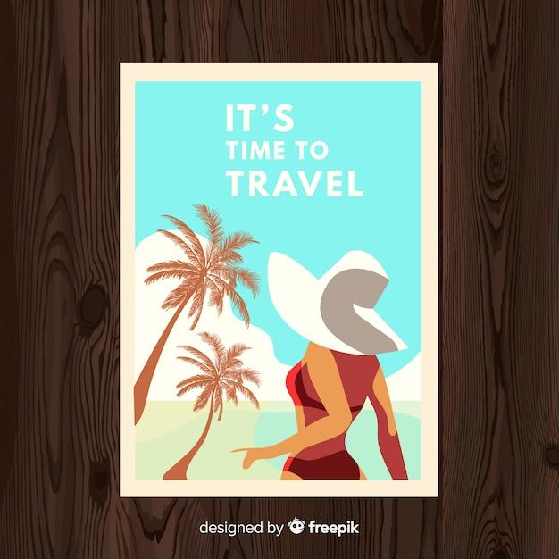 平らなビンテージ旅行ポスター 無料ベクター