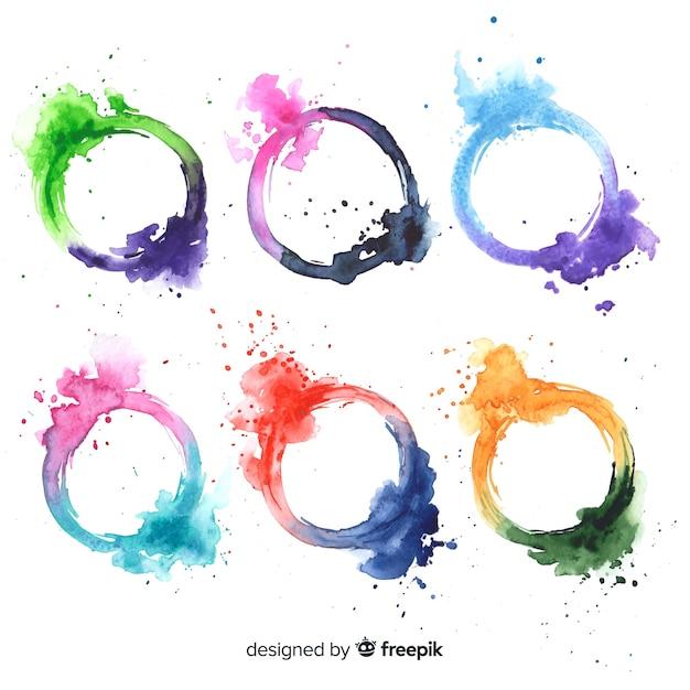水彩染色コレクション 無料ベクター
