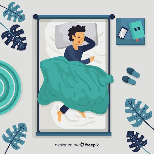 ベッドの背景で眠っている平面図人 無料ベクター