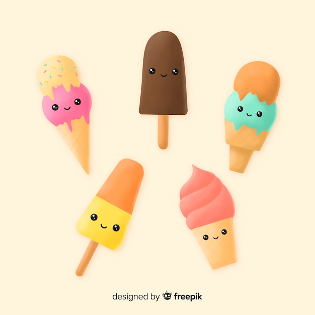 かわいいアイスクリームキャラクターコレクション 無料ベクター