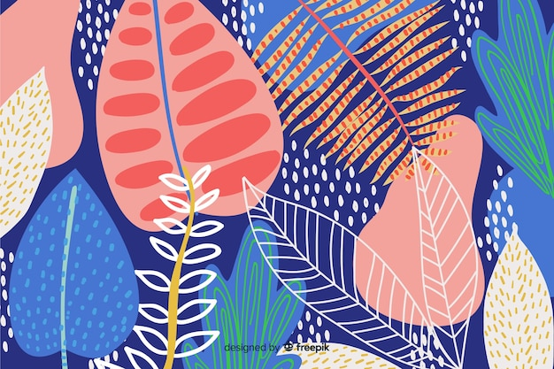 抽象的な手描花の背景 無料ベクター