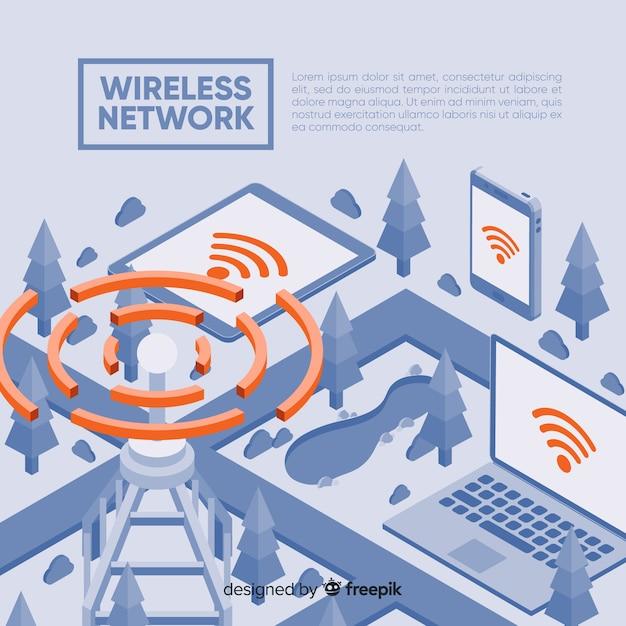 無線ネットワークランディングページのテンプレート 無料ベクター