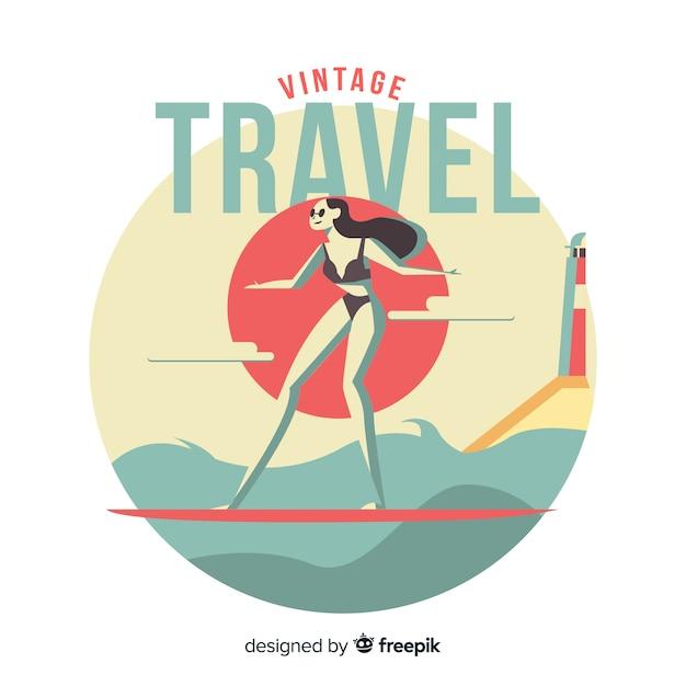 平らなビンテージ旅行のロゴ 無料ベクター