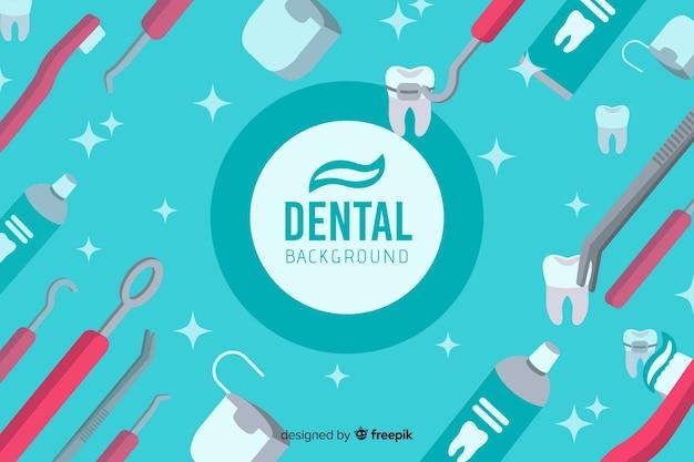 フラットなデザインの歯科医の背景 無料ベクター
