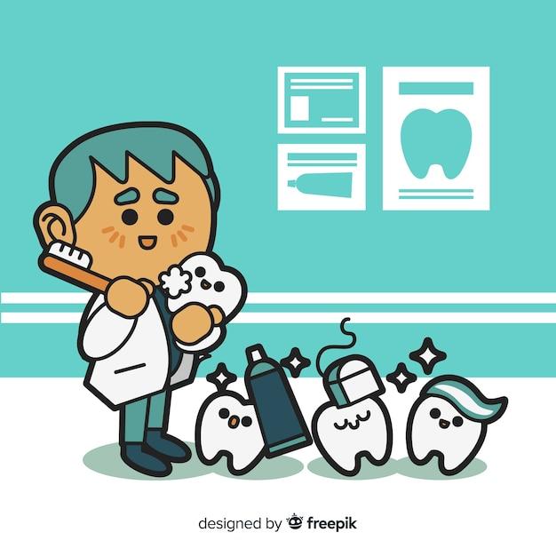 フラットなデザインの男性歯科医キャラクター 無料ベクター