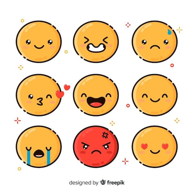 Коллекция эмоций Бесплатные векторы