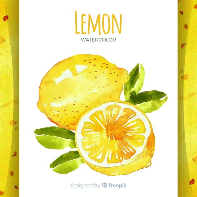 水彩の手描きのレモンの背景 無料ベクター