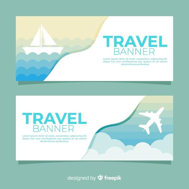 Туристический баннер Бесплатные векторы