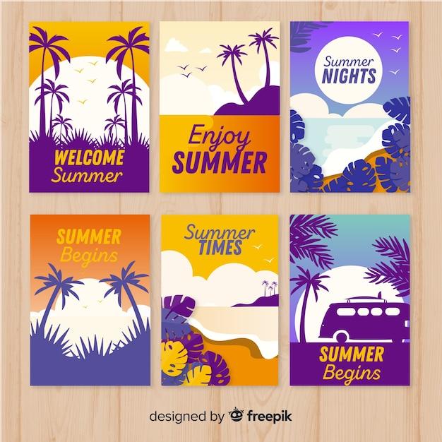 Коллекция плоских летних открыток Бесплатные векторы