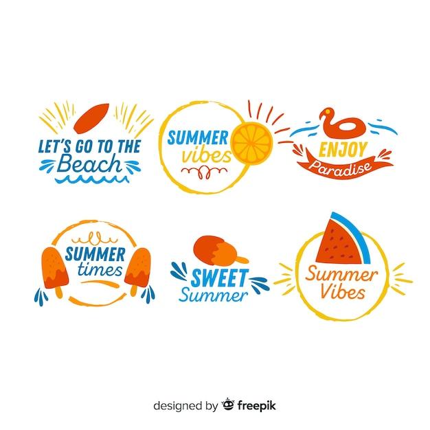 Красочные рисованной летней коллекции значок Бесплатные векторы