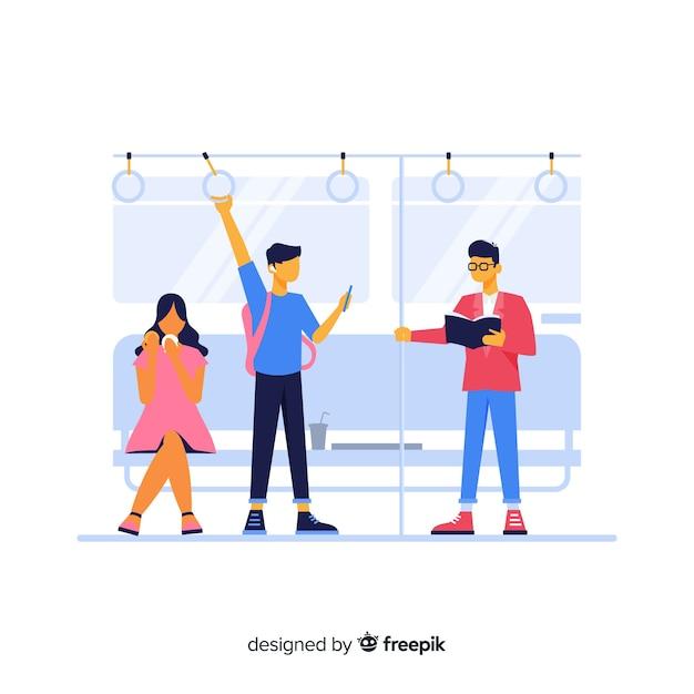 地下鉄で旅行する人々 無料ベクター