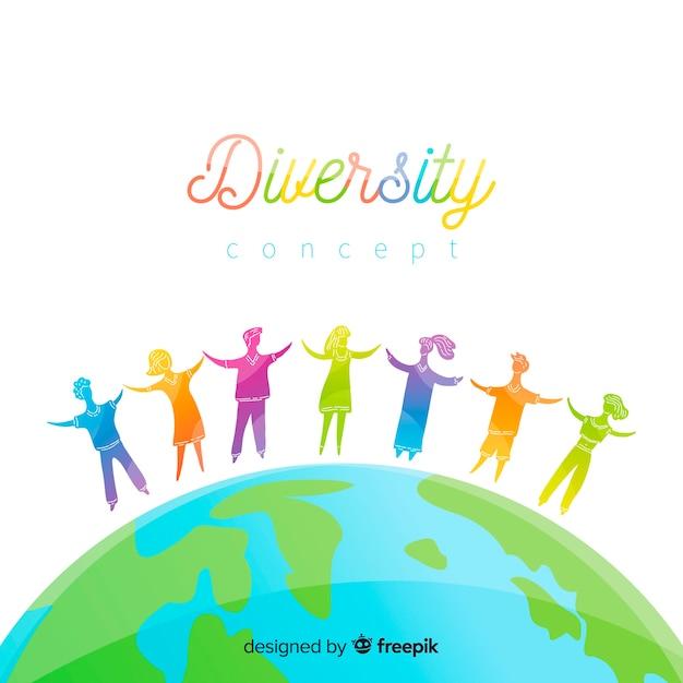 手描きの多様性概念の背景 無料ベクター