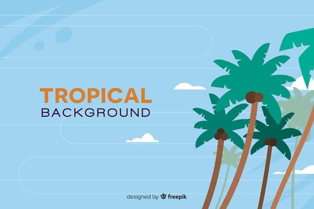 Плоский тропический фон с пальмами Бесплатные векторы