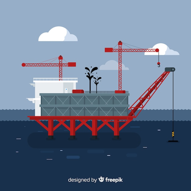 Плоский дизайн платформы морской инженерной концепции Бесплатные векторы