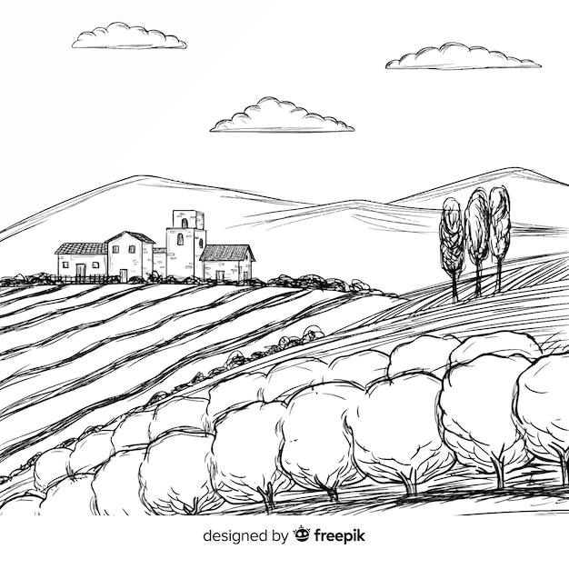 手描きの農場風景 無料ベクター