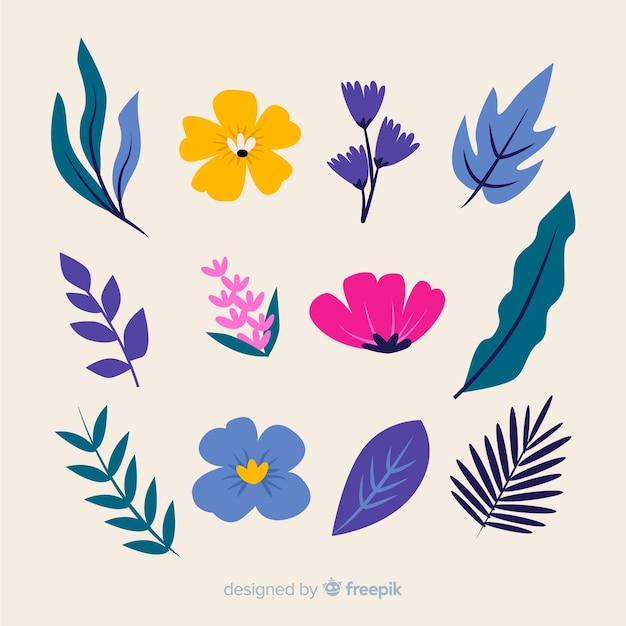 花の要素のコレクション 無料ベクター