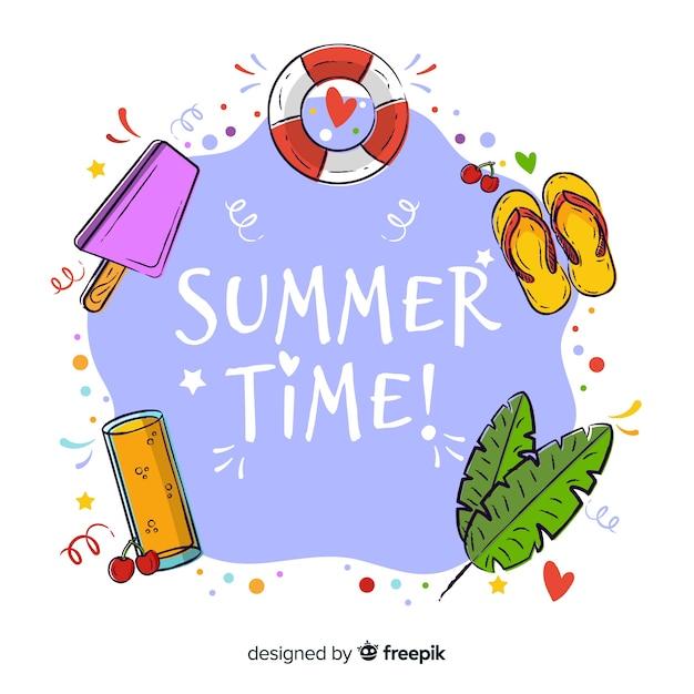 手描きの夏の時間の背景 無料ベクター