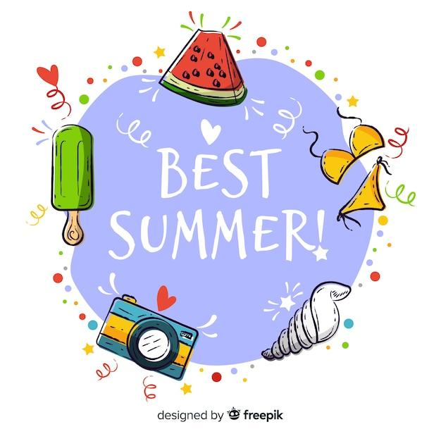 手描きの最高の夏の背景 無料ベクター