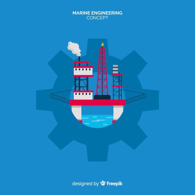 Плоский дизайн морской инженерной концепции Бесплатные векторы
