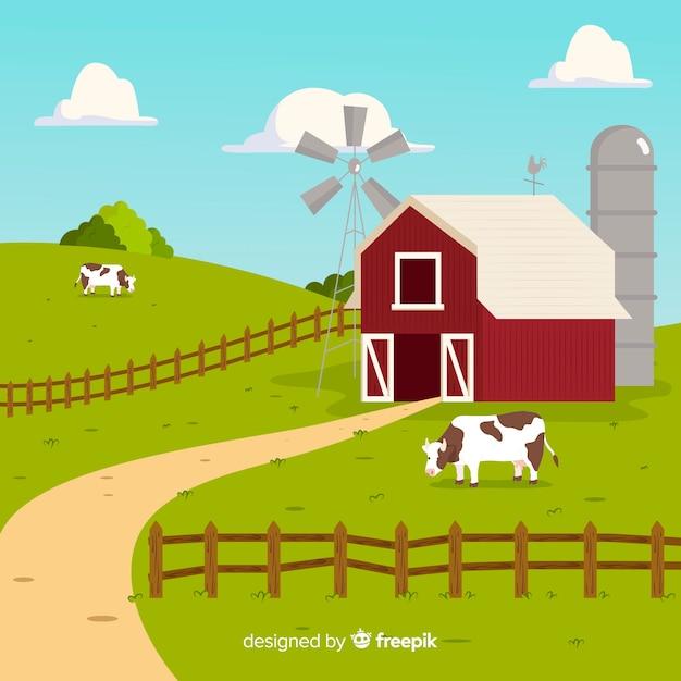 平らな農場の風景 無料ベクター