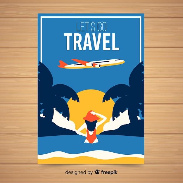 平らなビンテージ旅行のポスター 無料ベクター