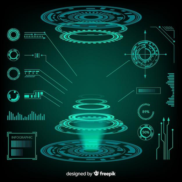 未来的なホログラムインフォグラフィック要素のコレクション 無料ベクター