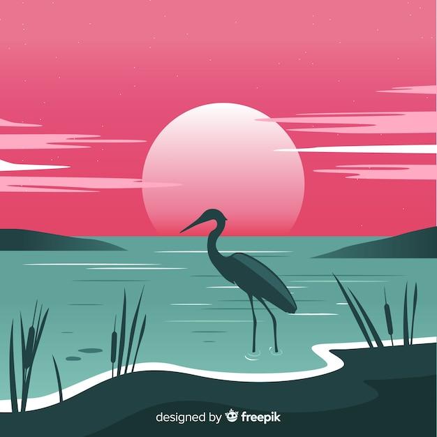 グラデーションビーチの夕日の風景の背景 無料ベクター