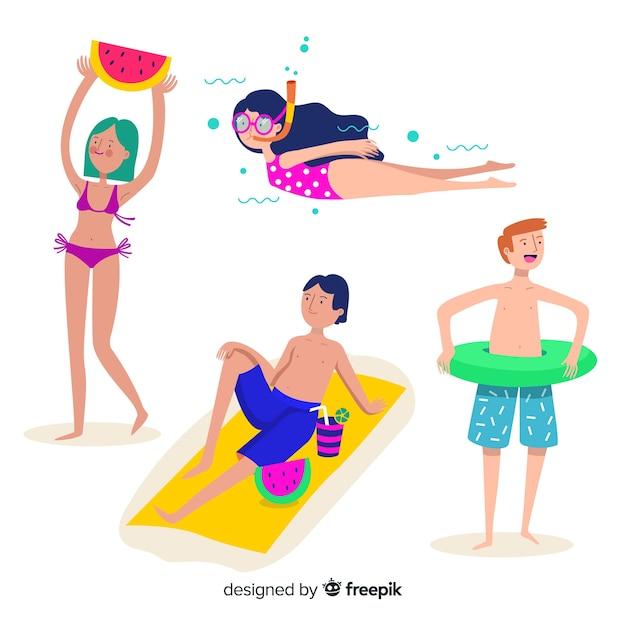 Люди наслаждаются летом на пляже Бесплатные векторы
