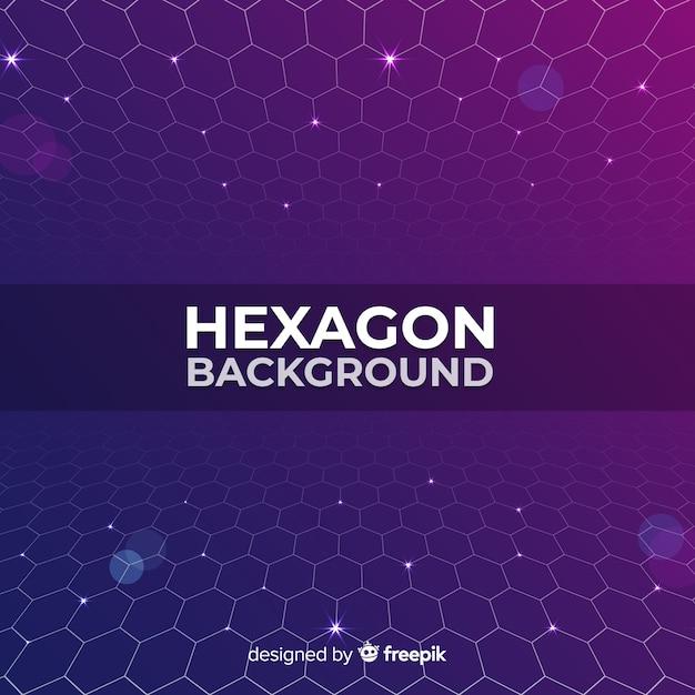 未来的な紫色の六角形ネットの背景 無料ベクター