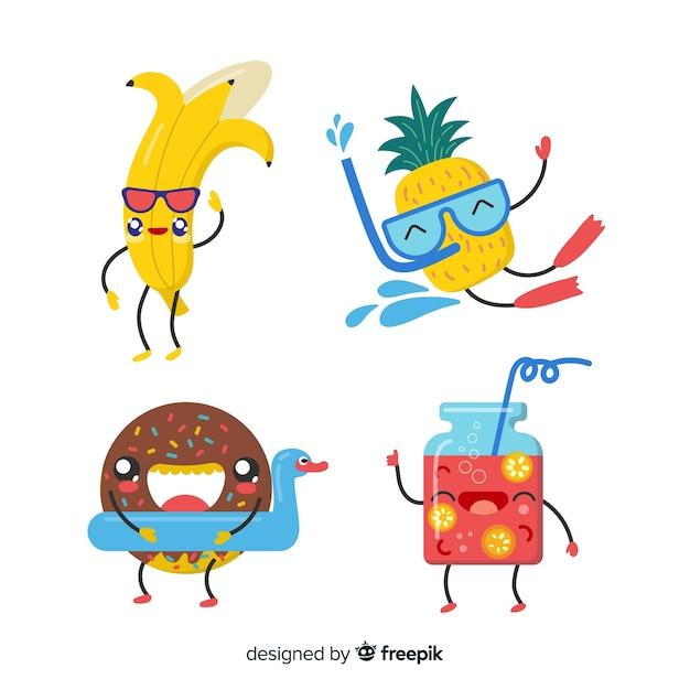 Коллекция милых летних персонажей каваий Бесплатные векторы