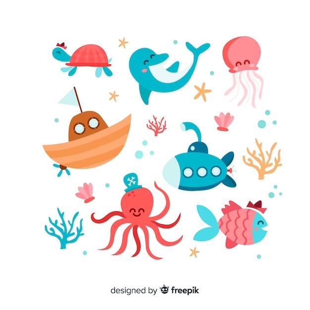 Коллекция рисованной морских персонажей Бесплатные векторы