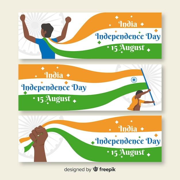 Плоские баннеры день независимости индии Бесплатные векторы
