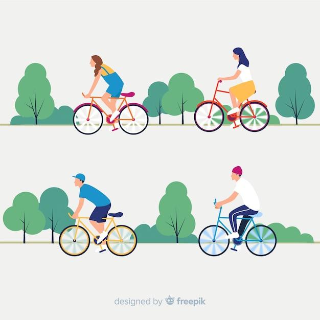Люди катаются на велосипедах в парке Бесплатные векторы
