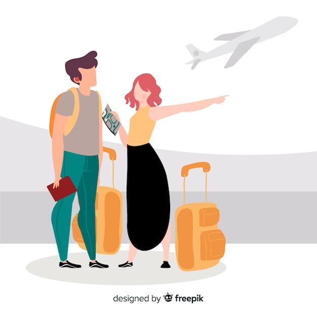 平らな幸せなカップル旅行の背景 無料ベクター