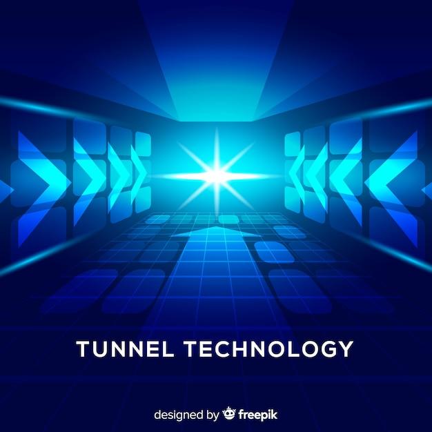 技術的な青い光のトンネルの背景 無料ベクター