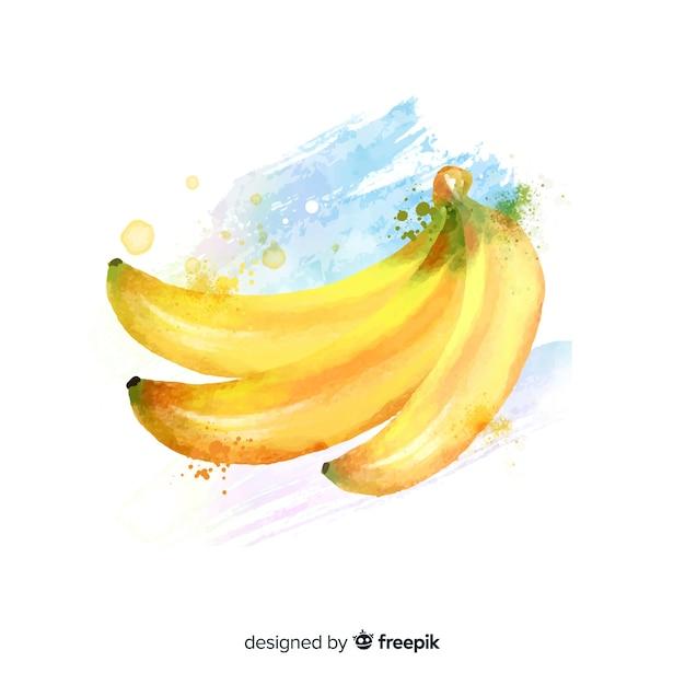 バナナと水彩のフルーツの背景 無料ベクター